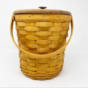 Longaberger Tall Fruit Basket with Lid with handle
